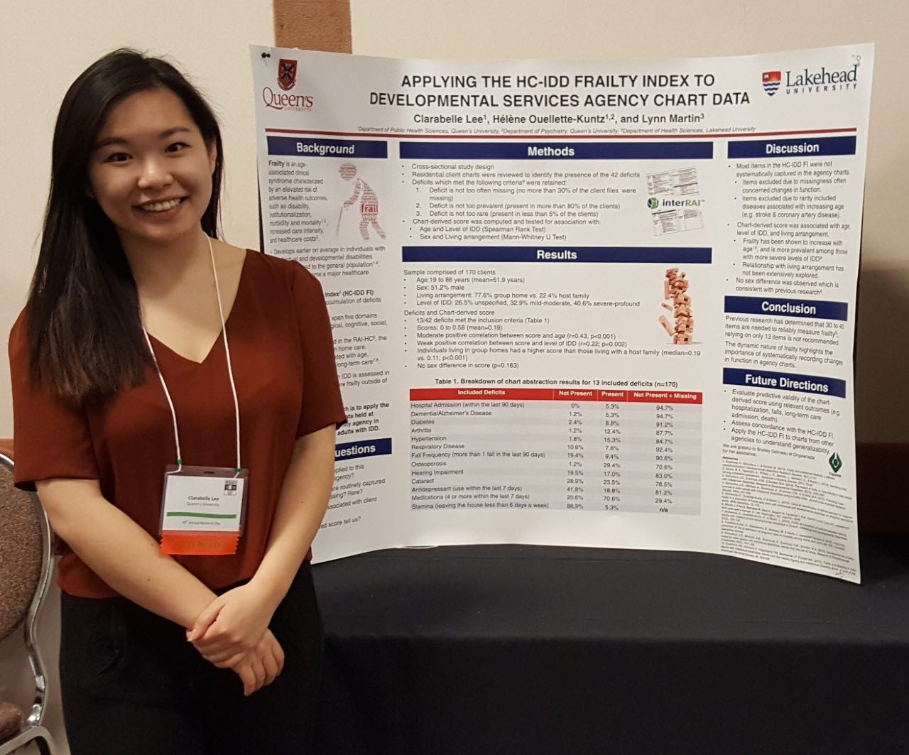 A young woman professional dressed stands smiling next to her poster on the frailty index.